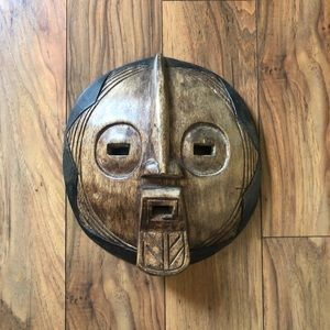 African Carved Wood Mask From Ghana